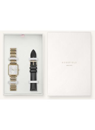 Rosefield gift box with The Boxy White gold watch and black leather strap BWSBG-X242