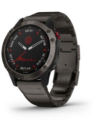 Garmin Fenix 6 Pro Solar Titanium Carbon Gray DLC with Titanium DLC Smart Watch 010-02410-23