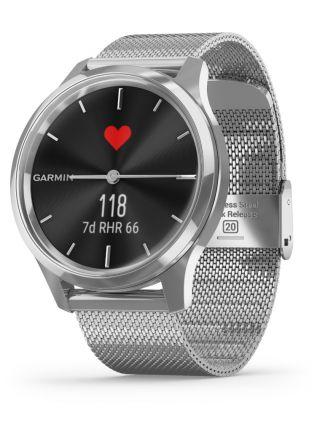 Garmin Vivomove Luxe Milanese and Silver Hybrid Smart Watch 010-02241-03