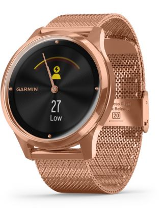 Garmin Vivomove Luxe Milanese and 18K Rose Gold Hybrid Smart Watch 010-02241-04