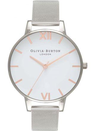 Olivia Burton White Dial Rose Gold & Silver Mesh OB16BD97