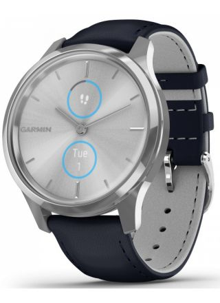 Garmin Vivomove Luxe Navy Leather and Silver Hybrid Smart Watch 010-02241-00