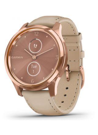 Garmin Vivomove Luxe Light Sand Leather and 18K Rose Gold Hybrid Smart Watch 010-02241-01